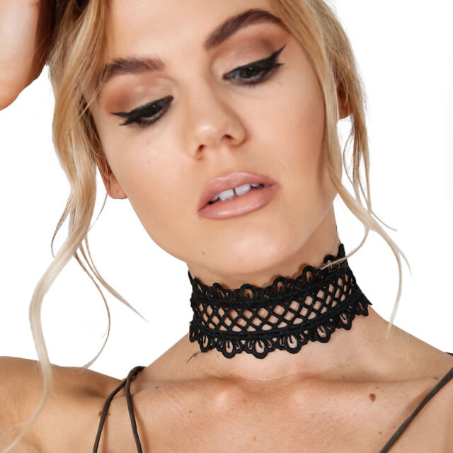 Sexy black hollow out lace Choker Women punk vintage handmade necklace Jewelry