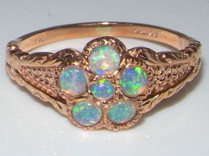 Luxury 9ct pink gold Ladies Fiery Opal Vintage Style Cluster Ring