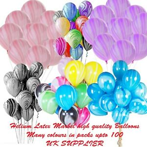 Helium-Marble-Latex-Vibrant-Colours-Balloons-For-Birthdays-5-10-20-50-100pcs-UK