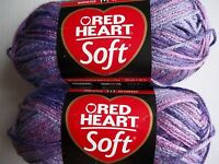 Red Heart Soft Variegated Yarn, Plummy, Lot Of 2 (204 Yds Each)