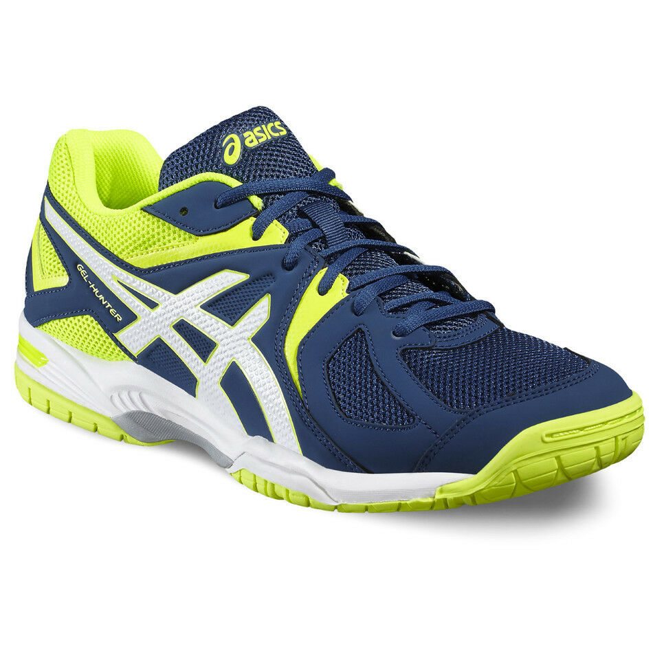 Asics Gel Hunter Shoes Poseidon/White/Safety Yellow