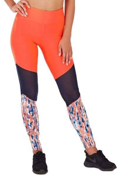 100% Vero Donna Elasticizzato Lucie Corallo Splash Stampa Gruppo Mesh Allenamento Fitness Leggings