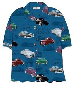 FORD-CLASSIC-1940s-CARS-HAWAIIAN-CAMP-SHIRT-David-Carey-BRAND-NEW