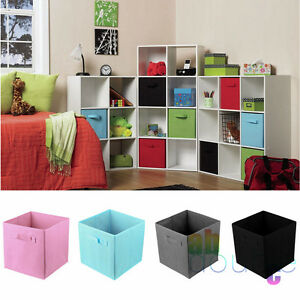 8x large square canvas foldable fabric storage box collapsible cubes home kids. Black Bedroom Furniture Sets. Home Design Ideas