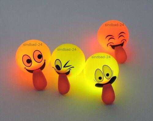 Hüpfball LED Licht,Party Mitgebsel Spielzeug für draußen 2x Smiley-Emotion-Gummiball,Springball