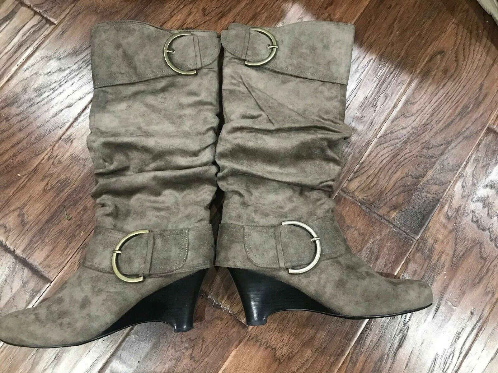 Naughty Monkey Brown Suede Women's Knee High Boots