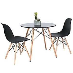 Details About Modern Round Coffee Table Wood Kitchen Dining Office Pedestal Desk Stand Black