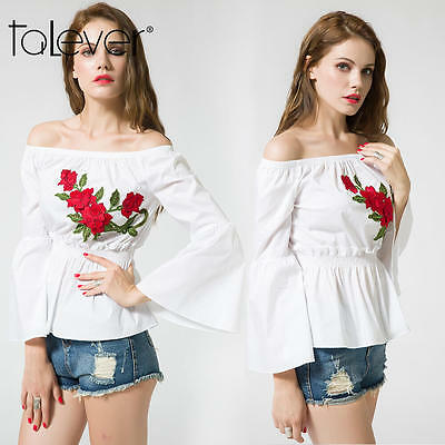 Women Summer Casual Long Bell Sleeve T-Shirt Tops Off-Shoulder Embroidery Blouse