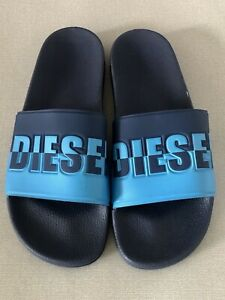 57ff98994d4b DIESEL Men s Freestyle Logo Slides Sandals Flip flops Navy   Blue ...