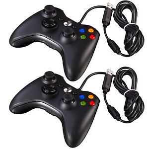 2x-New-Black-Wired-USB-Game-Pad-Controller-For-Microsoft-Xbox-360-PC-Windows