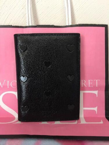 Victoria/' Secret Black Pop Heart Metallic Passport Cover and card holder case