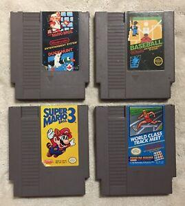NES-Video-Game-Lot-Super-Mario-1-amp-3-Duck-Hunt-Baseball-World-Class-Track-Meet