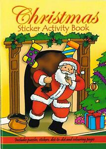 A6 Natale Adesivo Attività Libro Bambini Puzzle Imparare Colorare Books Santa