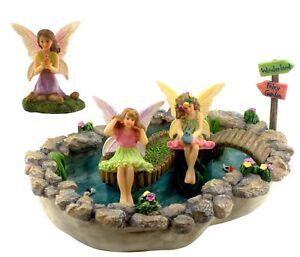 Fairy-Garden-Accessories-Fairy-Pond-Kit-Pond-3-Fairies-amp-Sign-by-Pretmanns