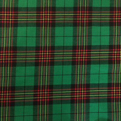 100% Cotton Madras Plaid Fabric By the Yard Green Red Black (Style 1401)