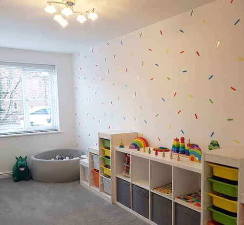 200 x Rainbow Colour Sprinkle Shaped Wall Stickers Decals:UK seller Free P/&P