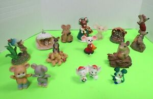Lot-Of-15-Collectible-Mice-Figurines-Ceramic-Crystal-Wax-Resin-Porcelain