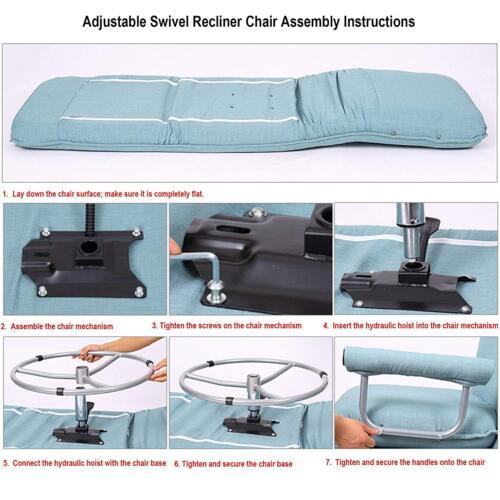 5-Positions Folding Lounge Chair Sofa Bed Armchair Sleeper Single 360°Swivel