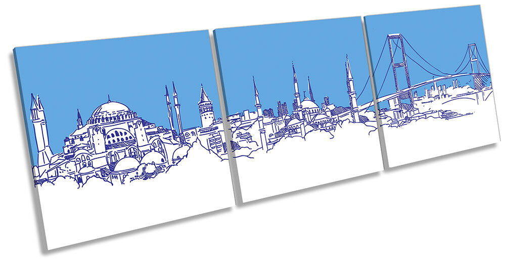 Istanbul City Skyline Blau Picture CANVAS WALL ART Triple Print