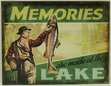 MEMORIES ARE MADE AT THE LAKE METAL SIGN Fish Vacation Cabin NEW Vintage Retro