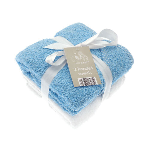 Elli /& Raff 2 Pack Hooded Baby Towels Blue and White New Born Bath Gift Set