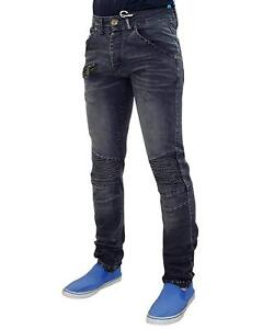 Mens-Skinny-Jeans-Ribbed-Stretch-Slim-Fit-Denim-Cotton-Biker-Pants-Trousers