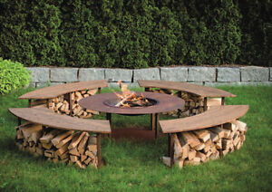 feuerstelle feuerplatz feuerschale gartenfeuer circle mit grillaufsatz b nken ebay. Black Bedroom Furniture Sets. Home Design Ideas
