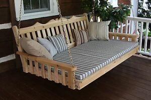 Outdoor-5-039-Royal-English-Garden-Porch-Swing-Bed-Unfinished-Pine-Oversize-Swing