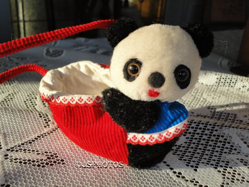 Dakin Vintage Mohair Panda Bear handväska Mycket sällsynt