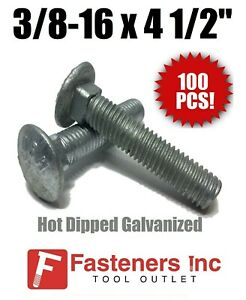 Qty-100 Carriage Bolt Hot Dipped Galvanized 3//8-16 x 2-1//2 FT