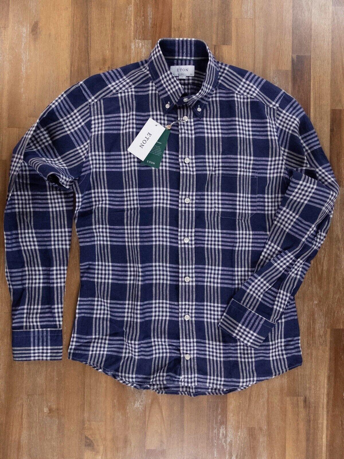 ETON of Sweden slim-fit plaid Blau linen Hemd authentic - Größe 40   15.75 - NWT