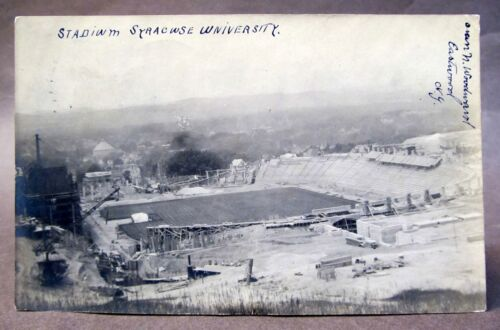 1907 Construction of STADIUM SYRACUSE U. NY football real photo postcard RPPC