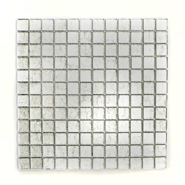 Mosaikmatte Mosaikfliese Quadrat Crystal uni silber Struktur Steinform 23x23x8mm