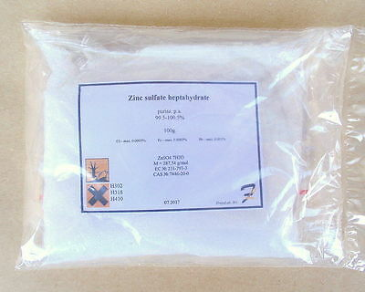 Zinc sulfate heptahydrate - 99.85% pure 50g-100g-200g powder 7446-20-0
