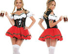 Beer Maid Wench Costume German Bavarian Oktoberfest Halter Fancy Dress Outfit M