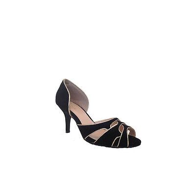 Verdon Trading Negro y Oro Zapato con punta de mediados talón abierto de noche