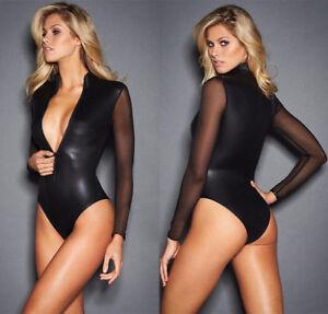 Symbol Of The Brand Abito Catsuit Canottiera Simil Latex Lattice Velato Lucido Clubwear Body Tuta Donna: Abbigliamento