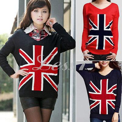 Creative Sweater Cardigan Knit Jumper Pullover Tops 1pc Women Loose Jack Uk Flag