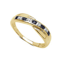 9CT GOLD SAPPHIRE & DIAMOND CHANNEL SET ETERNITY RING SIZE I-W ANNIVERSARY GIFT