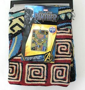 Marvel-Black-Panther-Metallic-Woven-Patchwork-Fringe-Tapestry-Throw-Blanket