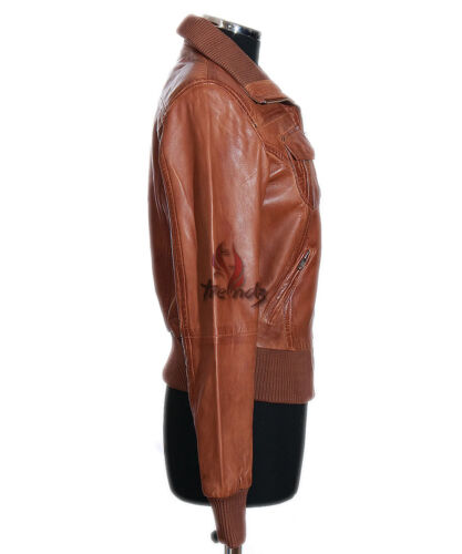 Soft Ladies New Brooklyn Designer Lambskin Jacket Waxed Real Bomber Leather Tan ZYq6rwTY