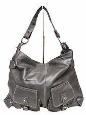 Pre-Owned Perlina Shoulder Bag Pewter Leather 2Front Flap Pockets Silver Hardwar