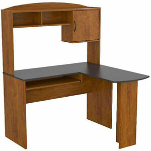 Image Is Loading Mainstays L Shaped Desk With Hutch Multiple Finishes