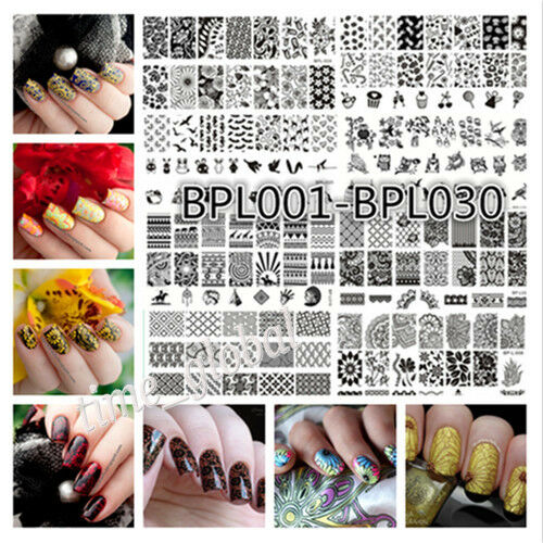 Born Pretty Nail Art Stamping Stamp Template Rectangle Image Plates 32Patterns
