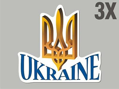 3 Ukraine Trident Tryzub shaped stickers flag crest decal car bike Sticker CN036
