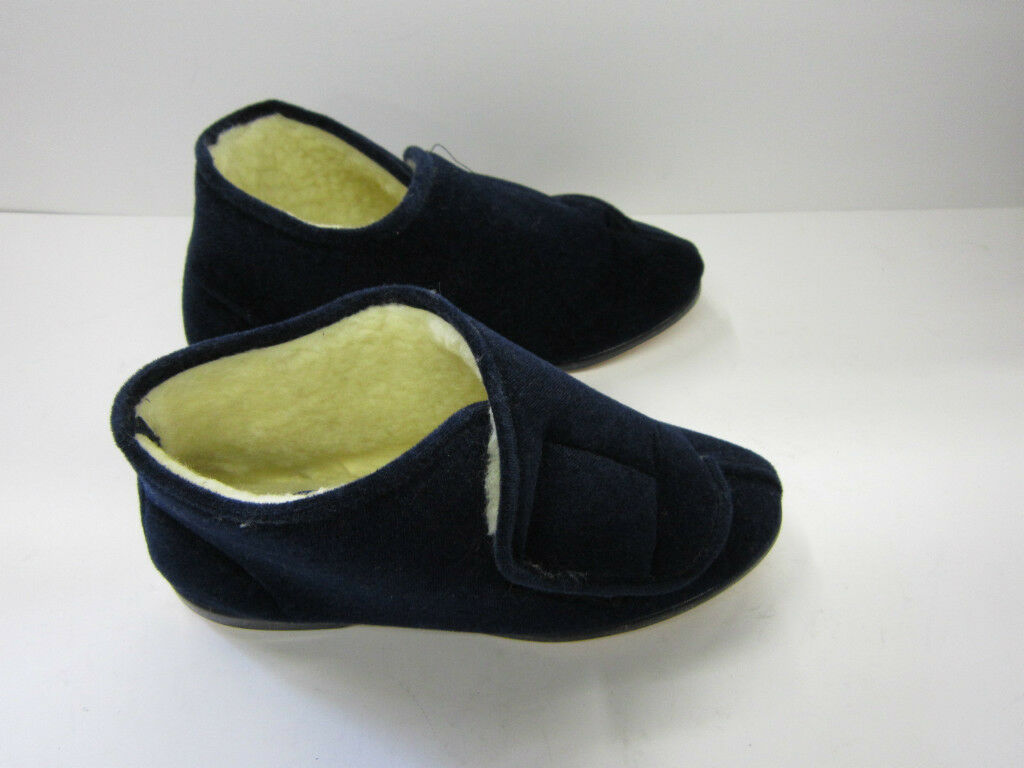 LADIES SLIPPER BOOTS FAUX FUR LINED ALBERTA NAVY