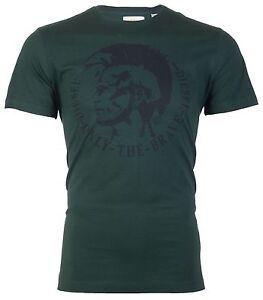 DIESEL-Mens-T-Shirt-ACHEL-Mohawk-Logo-GREEN-BLACK-Casual-Designer-58-Jeans-NWT