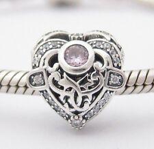 ANGEL FILIGREE HEART CHARM Bead Sterling Silver.925 For European Bracelet 542