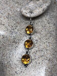 Vintage-Genuine-Citrine-Drop-925-Sterling-Silver-Earrings