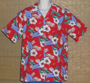 RJC-Hawaiian-Shirt-Aloha-Hawaii-Red-Blue-White-Green-Tropical-Flowers-Size-XL